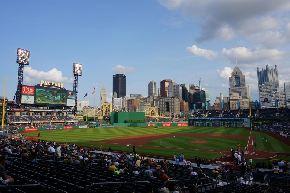 A favorite of ballpark chasers, PNC Park, home of the Pittsburgh Pirates, with downtown Pittsburgh rising out of center field.